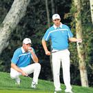 Europe's Padraig Harrington and Robert Karlsson in action together at Valhalla in 2008