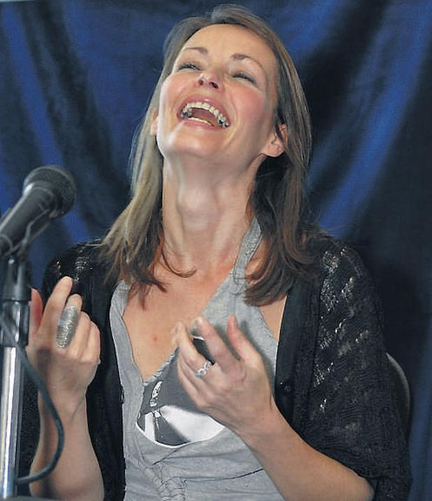 Sharon Corr laughs during a seminar at the Hot Press Music Show in the RDS yesterday
