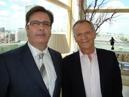 Jerry posing with author and former British MP Jeffrey Archer