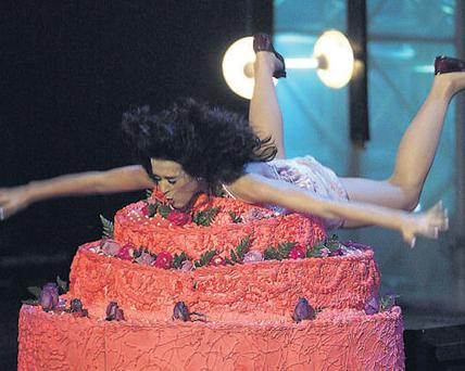 Katy Perry brought the house down diving into a huge birthday cake