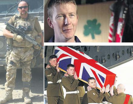 Above left: Ranger Michael Farrell from Bray, Co Wicklow, in uniform. Top right: Lance Corporal Ian Malone from Dublin, who was killed in an ambush in Basra in 2003, and (bottom right) his body being brought back to an Oxfordshire RAF base