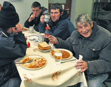 Tucking into a welcome meal at the Capuchin Day Centre in Dublin