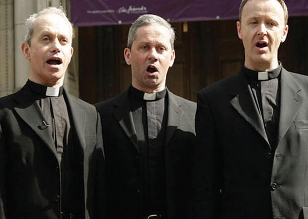 Top of the Pops: The Priests – Fr Eugene O'Hagan, his brother Fr Martin O'Hagan and Fr David Delargy – are tipped to top the albums charts at Christmas