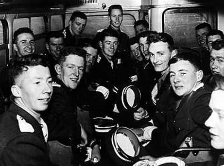 Colonel William Nott on a bus with his fellow cadets