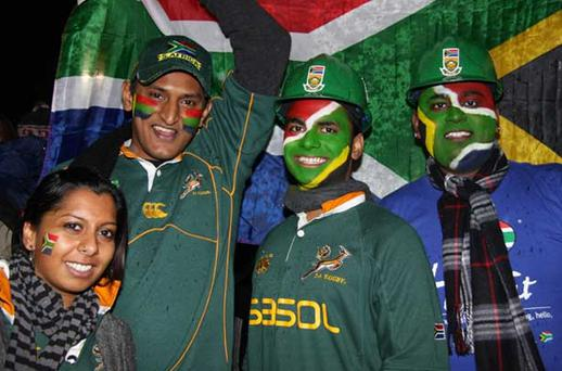 The Support: Drenched Bok fans in Wellington. Photo: Hannah Bills