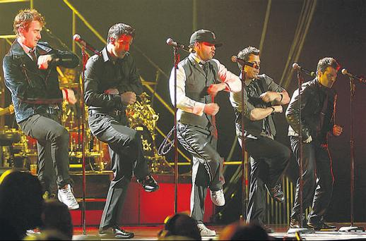 New Kids On The Block: (from left) Joey McIntyre, Jon Knight, Donnie Wahlberg, Danny Wood and Jordan Knight performing at the O2 Arena in Dublin