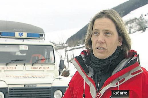 Anne Fitzgerald of Wicklow Mountain Rescue speaks to RTE after the dramatic rescue near the Sally Gap yesterday