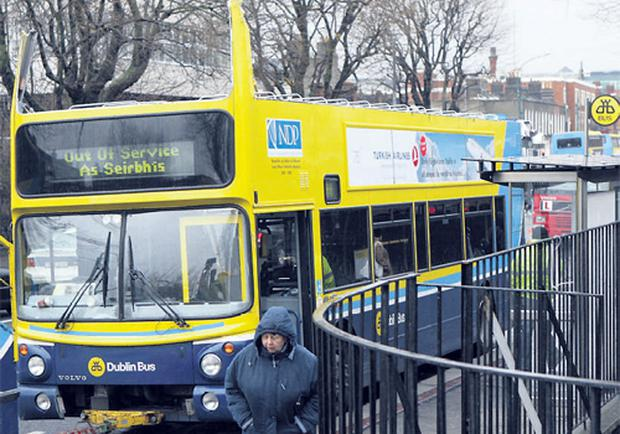 The Dublin Bus which had its roof torn off yesterday after hitting a tree in North Strand. Ten passengers were on board but none sustained injuries