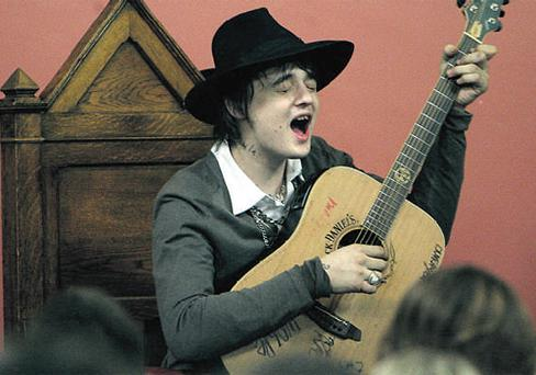 PRE-STORM CALM: Pete Doherty performs in Trinity before the Late Late disaster
