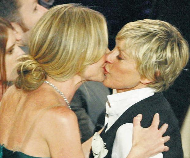 Lipstick lesbainism is on the rise, and celebrity couples such as Portia de Rossi, above left, and Ellen DeGeneres, above right, represent the new feeling of openness and acceptance that's evident in today's society
