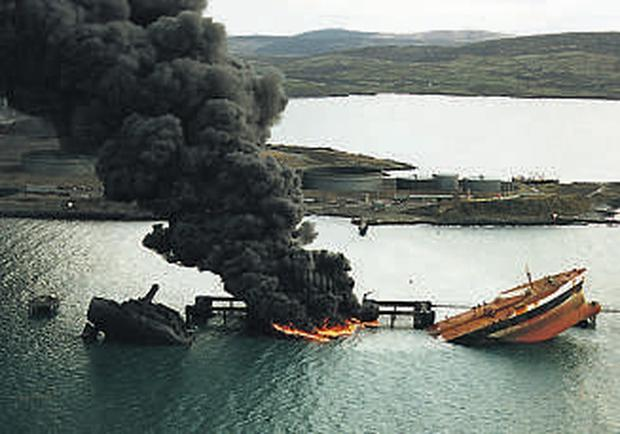 French tanker 'Betelgeuse' explodes at Whiddy Island in Cork in 1979 in what was Ireland's worst oil disaster