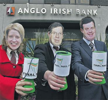 Members of Sinn Fein hold a mock collection in Dublin for bank chiefs