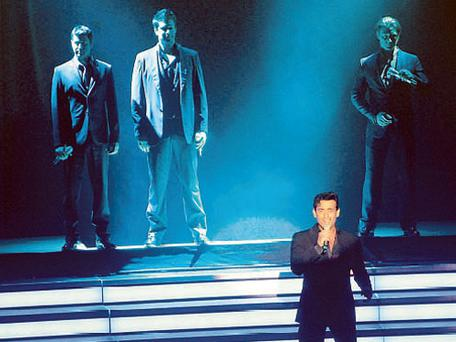 Carlos Marin steps forward to sing a solo during classical group Il Divo's performance at the O2 in Dublin earlier this week.