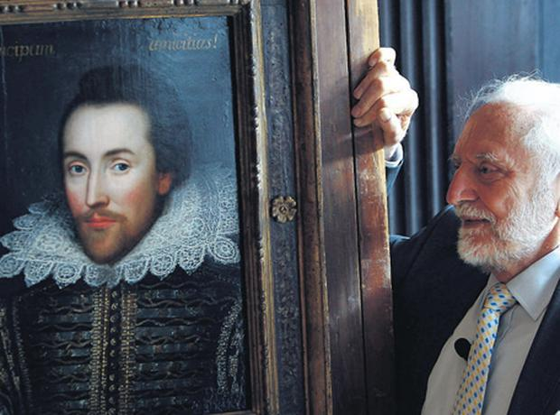 Chairman of The Shakespeare Birthplace Trust, Stanley Wells, with the newly discovered portrait