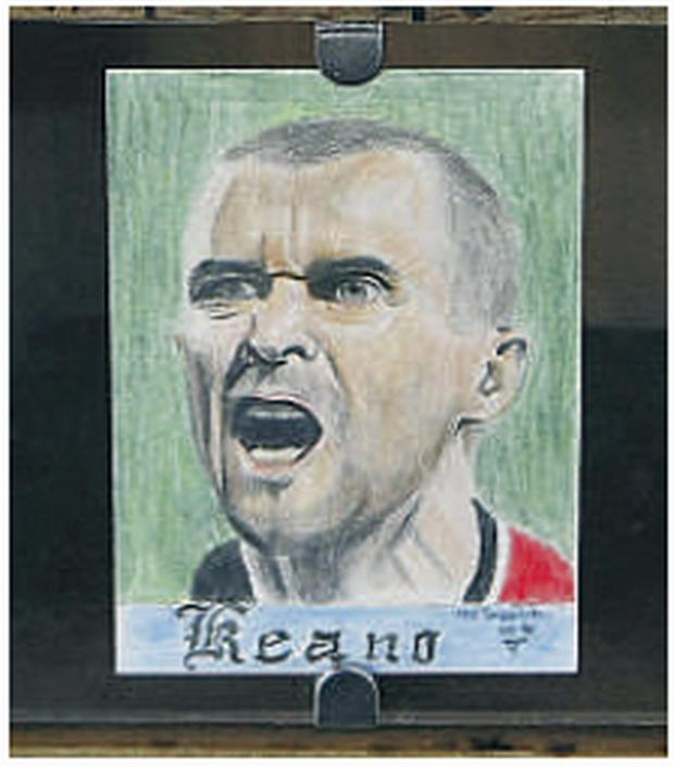 The postcard featuring football legend Roy Keane