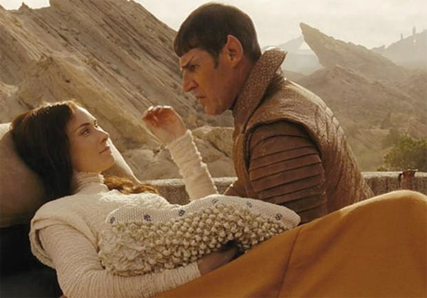 Winona Ryder with Zachary Quinto in Star Trek