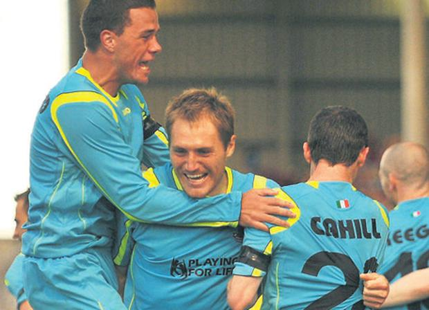 Drogheda United players celebrate Adam Hughes's goal against Dynamo Kiev last season