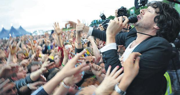 Gary Lightbody, the lead singer of Snow Patrol soaks up the adulation of the crowd