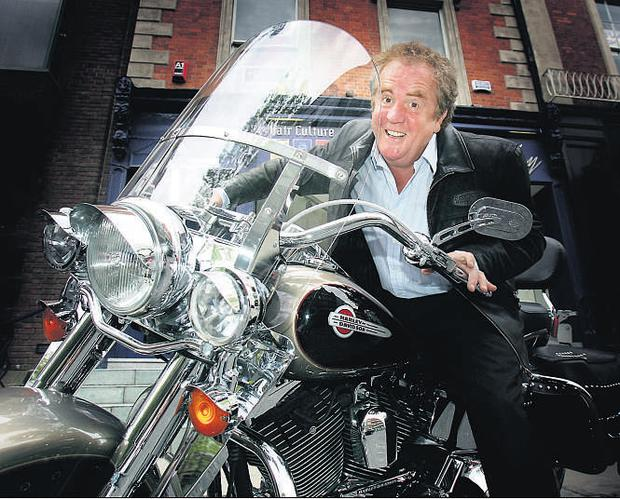 Hairdresser David Marshall on the motorcycle he was riding when he was arrested on suspicion of drink driving