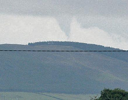What is believed to be a tornando pictured from the direction of Cloughjordan in Tipperary on Saturday at around 4.30pm