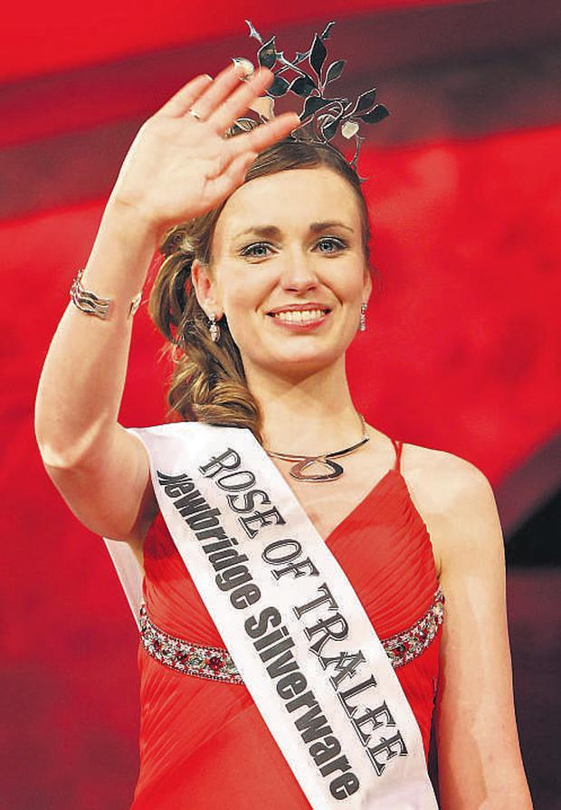 London Rose Charmaine Kenny waves to the audience after being named the 51st Rose of Tralee in the Dome