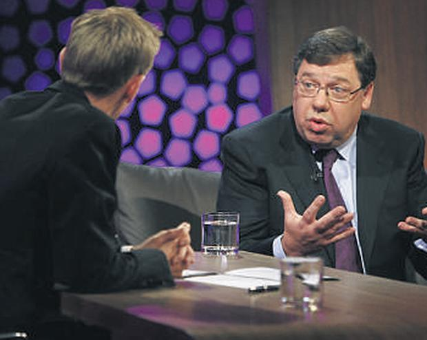 Taoiseach Brian Cowen who had to answer some tough questions from the new host.
