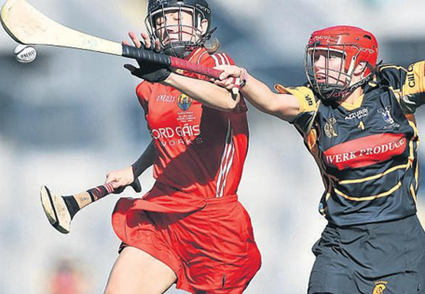 Emer O'Farrell, Cork, in action against Jacqui Frisby, Kilkenny in yesterdays' All-Ireland Senior Camogie Championship final