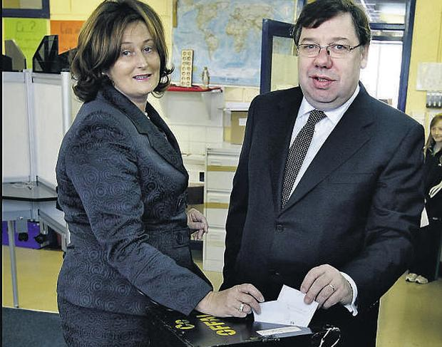 Taoiseach Brian Cowen and his wife Mary cast their votes in the Lisbon II referendum yesterday