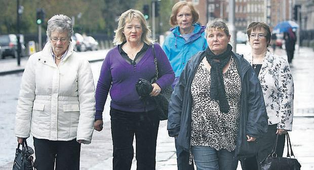 Magdalene survivors Marina Gambold, Maureen Sullivan, Kathleen Legg, Mary Smith and Maureen Taylor arrive for their meeting at the Department of Justice yesterday