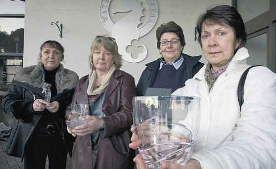 Some of the last customers at the Waterford Crystal visitors' centre - Eleanor Phelan, Ann Lanagan, Miriam Lyons and Maria Tyrell – before it closed last night