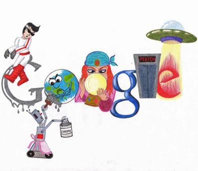 The drawing by Donegal teenager Ruth Deeney which will be displayed on Google's homepage