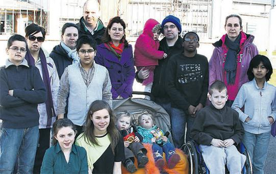 A new approach: Parents and children outside Griffeen Valley Educate Together National School in Lucan, Dublin