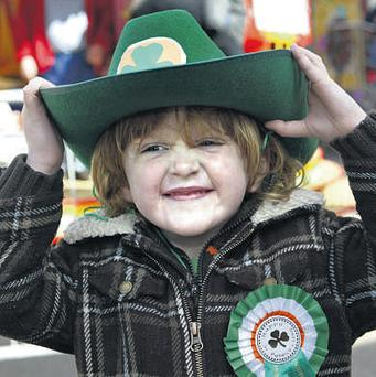 Charlie Connolly-O'Donnell (4) enjoys the celebrations in Merrion Square, Dublin, yesterday