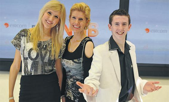 Dervla, Mary and Derek of Crystal Swing at the launch of Eircom's new Next Generation broadband service yesterday