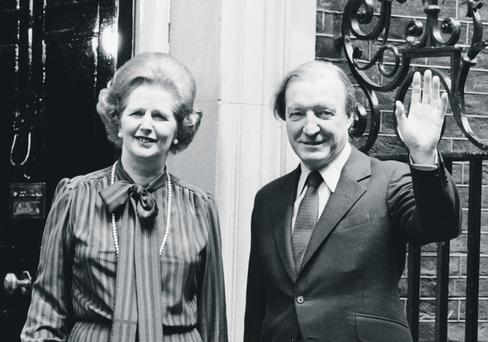 21st May 1980: Irish Prime Minister Charles Haughey, on the steps of 10 Downing Street, London, with Margaret Thatcher, the British prime minister. (Photo by Keystone/Getty Images)