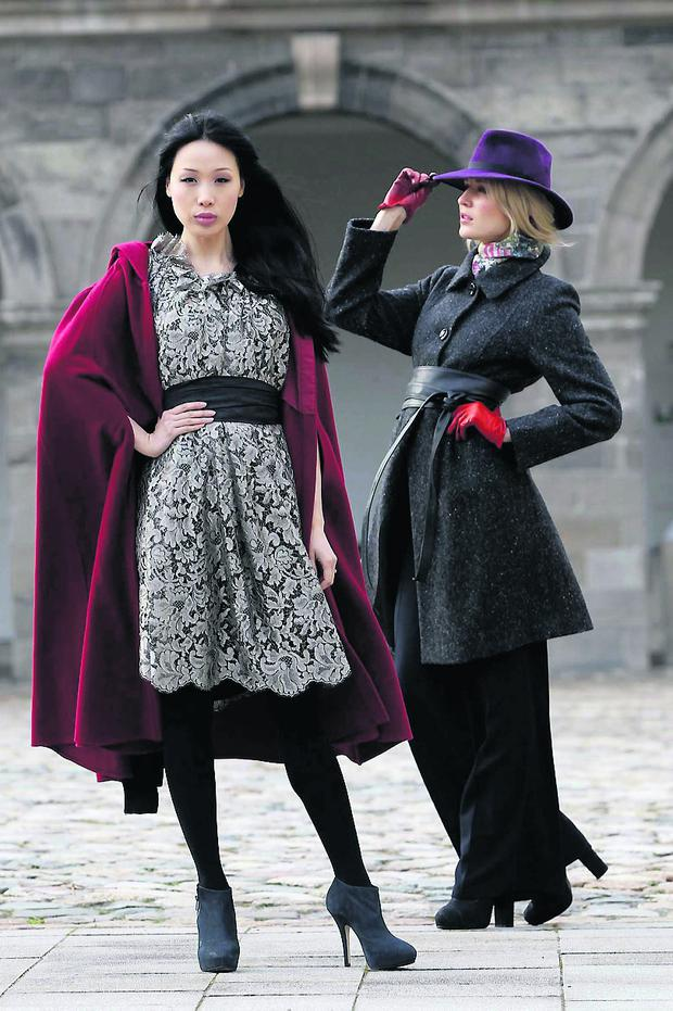 Queen Maeve wool and cashmere cape, €230) Siobhan Wear and Eilis BOyle metallic silver lace and silk dress (€1,100. Pic Robbie Reynolds/CPR