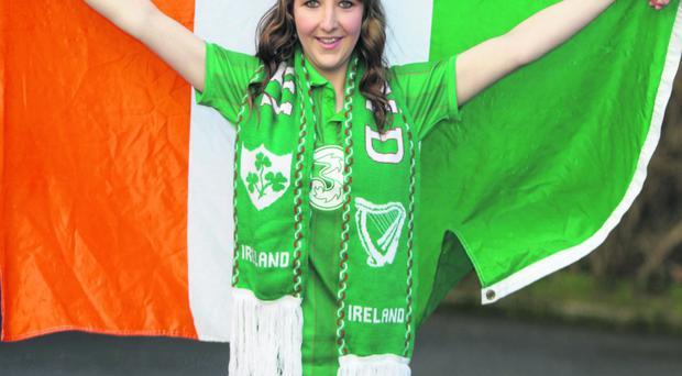 27/1/12 Ireland supporter Ruby Clarke who will be going to the Euro Championships in Poland, at her home in Sandyford in Dublin.Picture:Arthur Carron/Collins