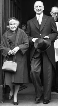 59 President Eamonn de Valera wiith his wife leaving the Pro-Cathedral on his Inauguratuion Day as President.INDO PIC