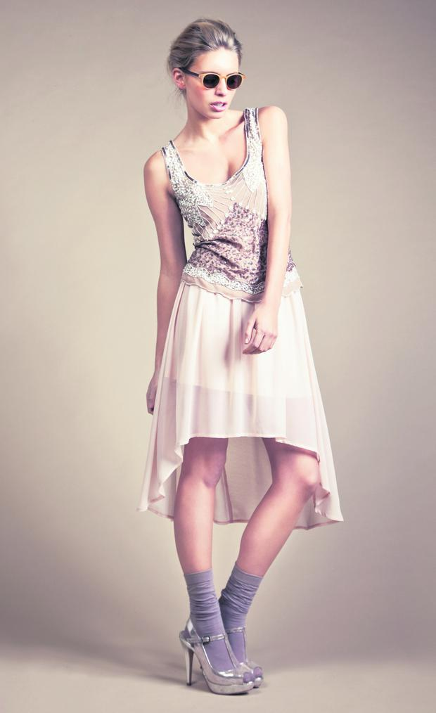 Embellished cami €55 and dipped-hem skirt €45