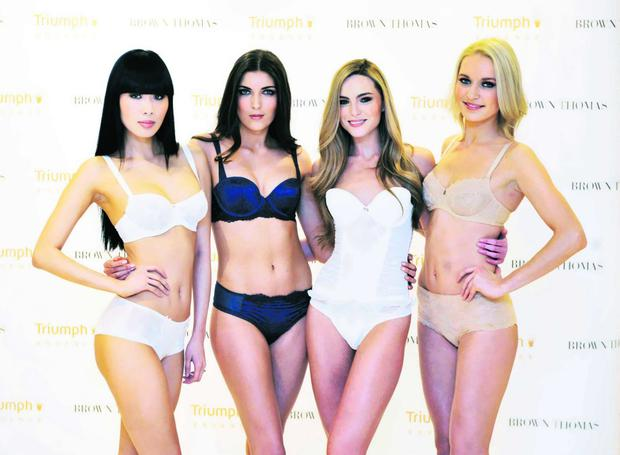 (LtoR) Yomiko Chen, Hannah Devane, Sarah Morrissey and Teodora Sutra today at the launch of the Triumph Essence Spring Summer 2012 linger collection, exclusive to Brown Thomas. The luxury lingerie collection is available exclusively in Brown Thomas Dublin, Cork, Limerick and Galway. Pictures: Sasko Lazarov/ Photocall Ireland