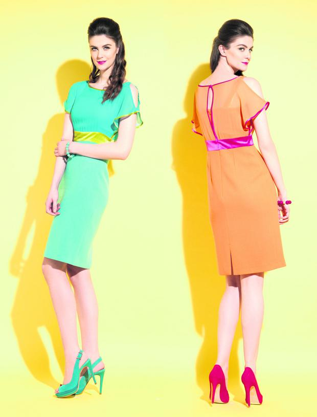 'Charlotte' turquoise/lime dress, and 'Charlotte' orange/pink dress, €315 each. Photos: German Collins