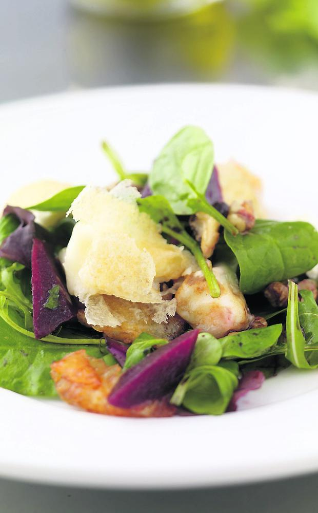 Salad of Baked Goat's Cheese, Beetroot, Orange and Walnuts