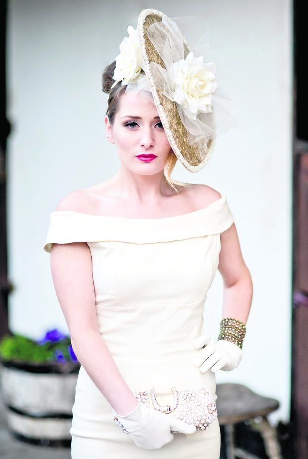 Hat €330 Stephanie Healy, dress €160 So Couture both at Myriam O'Reilly.