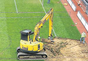 Work commences on preparing the Croke Park pitch for the U2 concerts