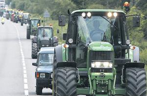 Farmers and truck drivers in Hampshire, England, take part in a 'go-slow' protest against spiralling fuel prices at the weekend. The Irish Road Haulage Association says Ireland may witness similar scenes in coming weeks.