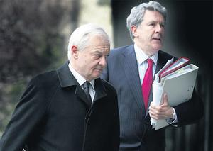 Tribunal counsel Des O'Neill (left) and Henry Murphy, SC, arriving at the Mahon Tribunal in Dublin Castle yesterday