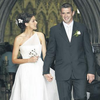 Newlyweds Alan Quinlan and Ruth Griffin exit St Michael's Church in Tipperary