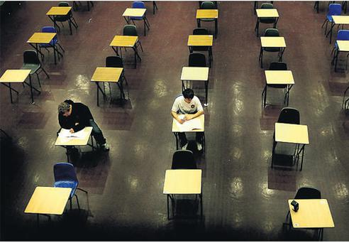 Tom Sexton and Cormac O'Meara, the only two Leaving Cert students to sit Latin at Belvedere College, Dublin, in the exam hall