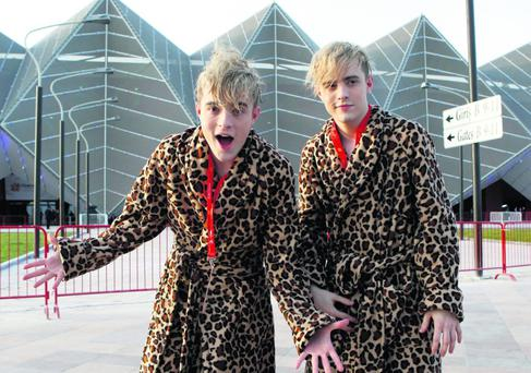 Jedward leaving the arena after their Final Dress Rehersal for the Semi Final in the Eurovision Song Contest in Baku Azerbaijan
