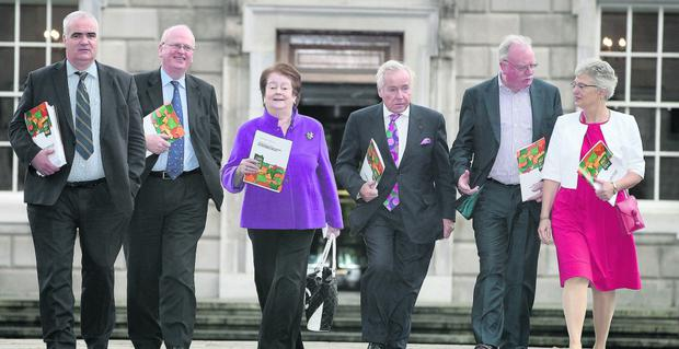 "At the launch of the 'Radical Seanad Reform Through Legislative Change"" consultation paper were, from left, Noel Whelan, Michael McDowell, Mary O'Rourke, Feargal Quinn, Joe Toole and Katherine Zappone"